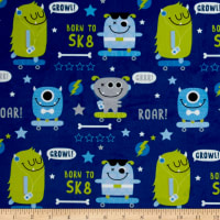 E.Z. Fabric Minky SK8 Monsters Blue