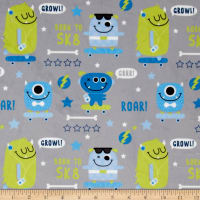 E.Z. Fabric Minky SK8 Monsters Grey
