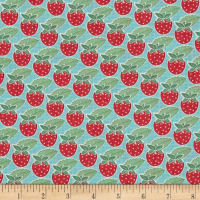 Moda Bumble Berries Strawberry Rows Bright Sky