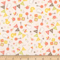 Moda Sweet Baby Flannel Nursery Toss Blossom/Cloud
