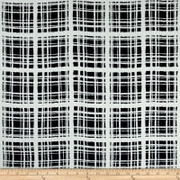 Rayon Challis Abstract Plaid Print Navy/Ivory