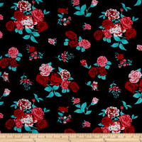 Rayon Challis Floral Prints Navy/Red/Mint Green