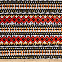 Ethnic Stretch ITY Jersey Knit Blackl/Orange