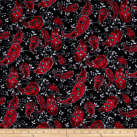 Jersey Knit Paisley Black/Dark Coral/White