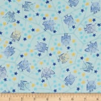Naptime Nursery Flannel Baby Owls Blue