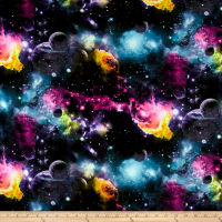 E.Z. Fabric Poly Spandex Galaxy Stretch Jersey Knit Print  Multi