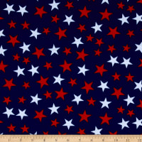 E.Z. Fabric Poly Spandex Jersey Knit Stars Print Red/White/Navy