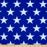 E.Z. Fabric Poly Spandex Stretch Jersey Knit Stars Print Royal/White