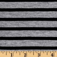 Rayon Spandex 1/2 X 1/4 Yarn Dyed Stripes Jersey Knit Heather Gray/Black