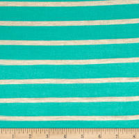 "Wide Lanes 1"" Stripe Rayon Jersey Knit Turquoise/Oatmeal"