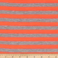 "Jersey Knit  1/2"" Stripe Heather Gray/Neon Coral"