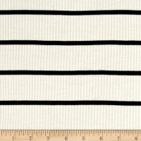 4X2 Rib Knit Stripe Ivory/Black