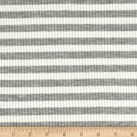4X2 Rib Knit Medium Stripe Heather Gray/Ivory