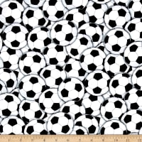 Timeless Treasures Packed Soccer Balls White