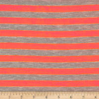 Rayon Jersey Knit 1/2 Stripe Heather Gray/Neon Coral