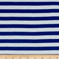"Rayon Jersey Knit 1/2"" Stripe Ivory/Royal"
