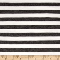 "Rayon Jersey Knit 1/2"" Stripe Charcoal/Off White"