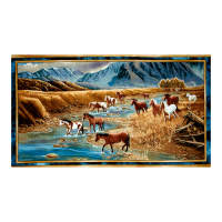 "QT Fabrics Sundance Mountain Horse 23.5"" Panel Multi"