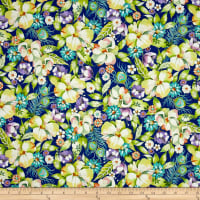 QT Fabrics Pretty As A Peacock Floral Cobalt