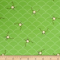 QT Fabrics It's a Pond Party Jumping Frogs Dark Green