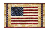 "QT Fabrics Home Of The Brave American Flag 25"" Panel Parchment"