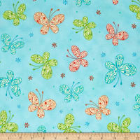QT Fabrics Trust In You Butterflies Aqua