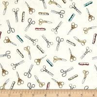Cute as a Button Scissors & Measuring Tape Eggshell