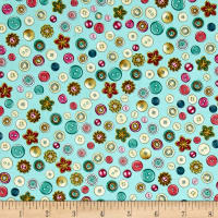 Cute as a Button Buttons & Flowers Aqua