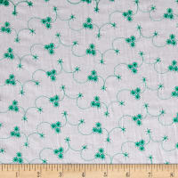Cotton Embroidery Eyelet White/Green
