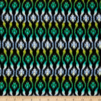 Rayon Challis Ikat Black/Green/Blue