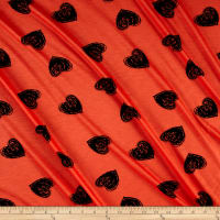Rayon Jersey Knit Sketch Hearts Black/Coral