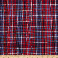 Hudson Bay Crinkle Plaid Shirting Red/White/Blue