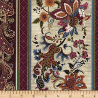 Timeless Treasures Metallic Tivoli Floral Stripe Cream