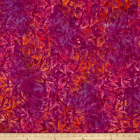 Timeless Treasures Batik Tonga Neon Scattered Leaves Geranium