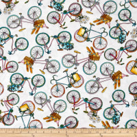 Timeless Treasures European Adventures Tossed Bicycles White