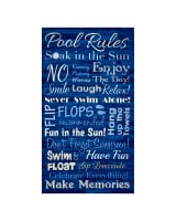 Timeless Treasures Pool Rules 24 In. Panel Blue