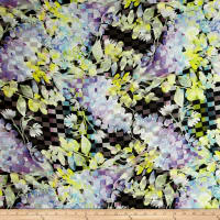 Telio Digital Linen Floral Print Purple/Yellow