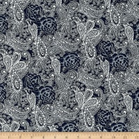 Telio Stretch Denim Paisley Print Dark Blue