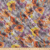 Telio Kimono Chiffon Watercolor Floral Print Purple/Orange