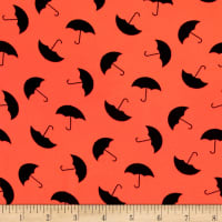 Chiffon Black Umbrellas Neon Orange
