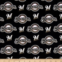 MLB Cotton Broadcloth Milwaukee Brewers Black/White