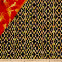 Indian Batik Double Face Quilted Ikat Orange Yellow