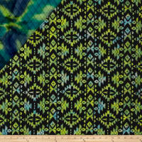 Indian Batik Double Face Quilted Circles Blue Green