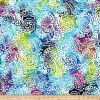 Indian Batik Cascades Paisley Green/Blue/Purple