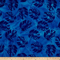 Indian Batik Polynesian Batiks Tropical Leaf Blue
