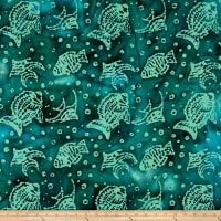 Indian Batik Ocean Grove  Fish Green