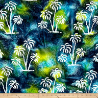 Indian Batik Ocean Grove Palm Trees Aqua/Olive/Blue