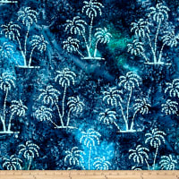 Indian Batik Ocean Grove Palm Trees Navy/Aqua
