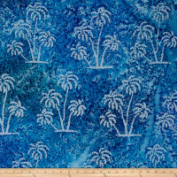 Indian Batik Ocean Grove  Palm Trees Blue