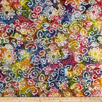 Indian Batik Crinkle Cotton Print Floral Scroll Bright Multi